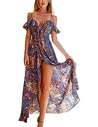 12ab7aa894f Simplee Apparel Damen Blumen Kleid Chiffom Boho V-Ausschnitt Rückenfrei  Lang Strand Kleid Träger Kleid