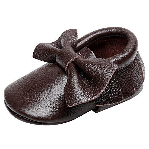 Jamron Bébé Charmant Bowknot Houppe Chaussures Berceaux Enfant Bambin Semelle Molle Prewalker Baskets 0-24 Mois Café