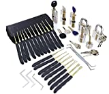 Juego de 24 ganzúas de cerrajero SYG, herramientas con 7 cerraduras de práctica diferentes transparentes