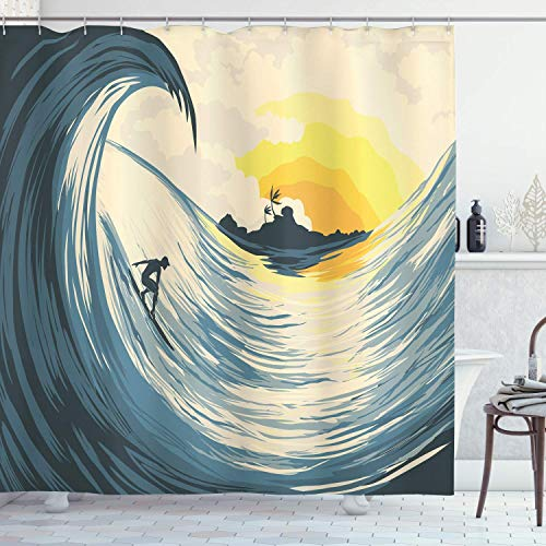 Shower Curtain 68x72 Inches Ocean Bath Curtain, Illustration of Cloudy Sky Tropical Island Wave and Surfer at Sunset Seascape, Polyester Bathroom Decor Set with Hooks Beige Yellow For Bathroom
