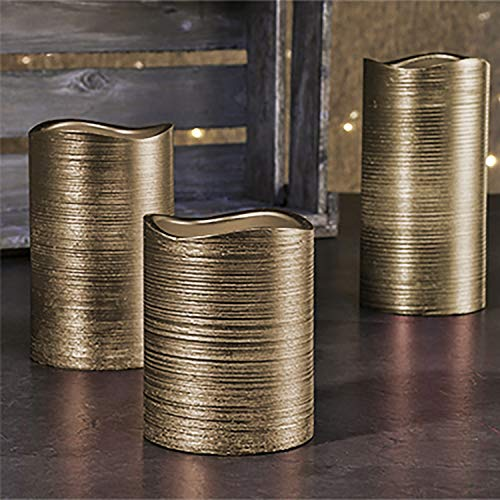3er Set LED-Wachs-Kerzen-Set Leuchten Wachs Flammenlos Gold