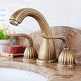 Antik Kupfer Doppelventil drei Loch Waschbecken Wasserhahn heiß und kalt Mischhahn Bad Wasserhahn europäischen Stil Badezimmer Waschbecken Wasserhahn