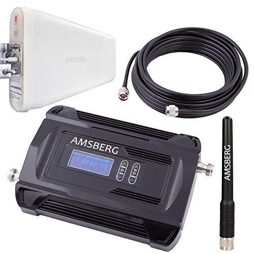 Amsberg GSM D-Netz, E-Netz Repeater Komplett Set, alle Provider, Gespräche D-Netze (T-Mobile, Vodafone, 900 MHz) O2, E-Plus (1800 MHz), Handy Verstärker 17dBm regulierbar, Display, CE! Zertifiziert Gsm-netz