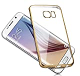 Meephone Electroplated Edge Ultra Thin TPU Flexible Back Case Cover for Samsung Galaxy S6 Edge- Gold