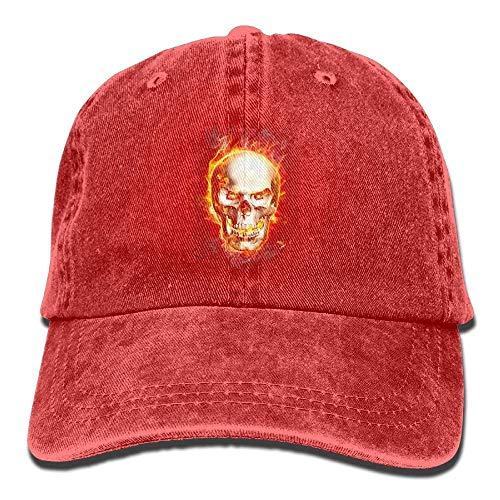 Hoswee Unisex Kappe/Baseballkappe, Flame Devil Skull Design Cowboy Hat Cap Red -
