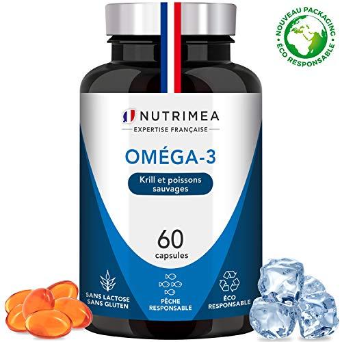OMEGA-3 et KRILL d'Antarctique Sans Odeur - Huile de poisson pure Premium - Haute concentration en Oméga3 (EPA DHA) - Fabrication Française