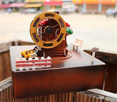 Festival et cadeau d'anniversaire Mécanisme musical Rétro Classique Pastoral Rotation Ferris Wheel Windmill Waterwheel Music Box Box Box Gift Envoyer Girls Envoyer des amis, 15 * 15 * 13Cm