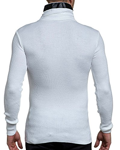 BLZ jeans - Pullover homme fine maille effet cuir et zip Blanc