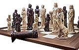 Design Toscano Götter der griechischen Mythologie Komplettes Schach-Set, Gusseisen/Holz, 15 cm, 16 Stück und Brett