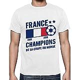 Decha Unisex T-Shirt Coupe du Monde Football 2018 Manches Courtes Top Blouse Chemise Été Imprimé Lettres Casual Les Bleus Champion pour Homme Femme (S/M on tag, Blanc 7)...