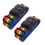 Set di 2 Pezzi Cinghia per valigia Cinghie da Bagagli con Serratura a Combinazione TSA Cintura di Sicurezza di Colore Arcoaleno per Viaggio