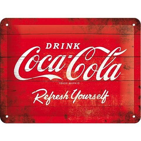 Coca Cola, Rinfrescante, Bevanda, Effetto Legno Scatola, Bordo della strada Per clienti, caffè, Pub, Vintage, Rétro, Cassette, Cucina, 3D Metallo/Targa Da Parete In Acciaio - 15 x 20 cm