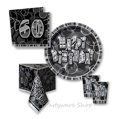 Black Glitz 60th Birthday Party Tableware Pack for 8 by The Partyware Shop