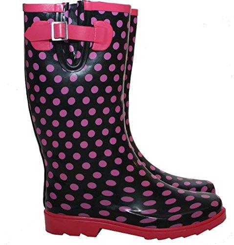 Retroleopard Arbeits Footwear Pink Schwarz gummistiefel Mädchen Damen amp;h A E5qX4
