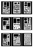 20 Stück Malvorlage Schablone,Zeichenschablonen mit verschiedenen Mustern DIY Craft Geschenk