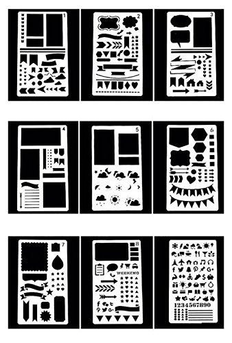 (20 Stück Malvorlage Schablone,Zeichenschablonen mit verschiedenen Mustern DIY Craft Geschenk)