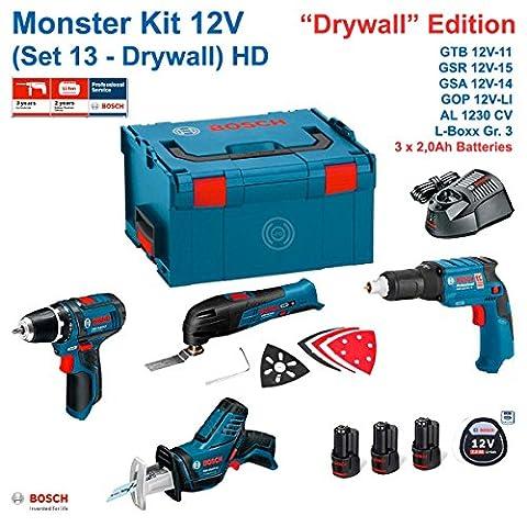 BOSCH Monster Kit 12V Set 13 HD Special Rigipsplatten (GTB 12V-11+ GOP 12V-LI + GSA 12V-14 + GSR 12V-15 + 3 x 2,0 Ah + AL1230CV + L-Boxx 238)