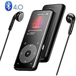 AGPTEK Reproductor Mp3 8 GB Bluetooth 4.0 de Metalico con Altavoz Incorporado y Radio FM, Botón Táctil, Pantalla TFT a Colores de 1.8 Pulgadas, Apoya Extención hasta 128 GB, Negro A16TB