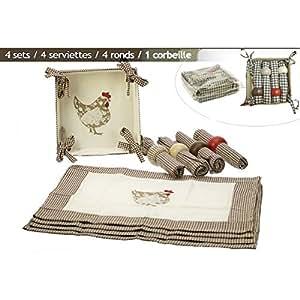 REVIMPORT - Sets de table TISSU 13 P vichy brun décor POULE*