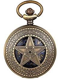 JewelryWe - Reloj de bolsillo para hombre, automático, clásico, mecánico, vintage, con colgante de estrella de cinco puntas y cadena
