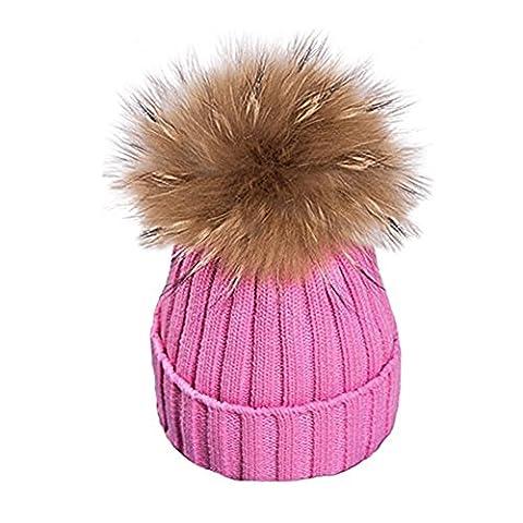 Damen Echtfell Waschbär Fell Pelz Bommel Strick Mütze Winter-Mütze Bommelmütze (Rosa)