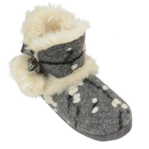 Da Donna, A Maglia DUNLOP Soffice Pelliccia Morbida Caldo Comodo Nordico Yeti Stivale Pantofola A Stivale Grey Julia