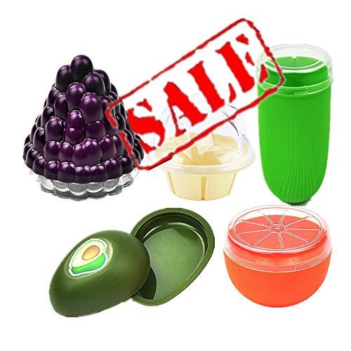 Summer Food Savers, de 5 protectores con forma fruta, aguacate, uva, naranja, maíz, helado - Contenedor de almacenamiento de plástico duro reutilizable con sello hermético y orificios de ventilación