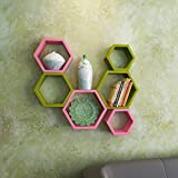 USHA Furniture Wall Shelf Rack Set Of 6 Hexagon Shape Storage Wall Shelves For Home - Green & Pink