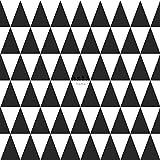 papier peint intissé impression à la craie triangle géométrique graphique noir et blanc mat - 128845 - d'ESTAhome.nl