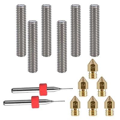 eaone 630mm Länge Extruder 1,75mm Tube und 60,4mm Messing Extruder Düse Druckköpfe für MK8MakerBot RepRap 3D Drucker (Bonus: 2Reinigung Bohrer)