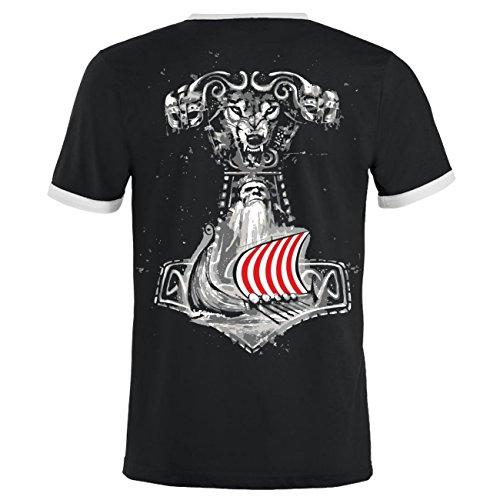 Männer und Herren T-Shirt Germanischer Glaube (mit Rückendruck) Schwarz/Weiß