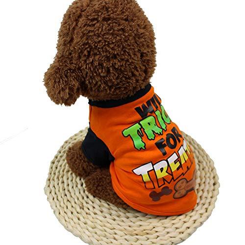 EUZeo Kühle Halloween Nette Haustier T-Shirts Kleiner Hund Kleine Katze Schönes Haustier Lovely Pet Clothing Haustierbekleidung Katze Kleidung Hundebekleidung Sommer Hundepullover Katzenpullover (Halloween 2019 La Datum)