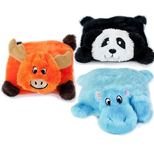 zippypaws Quietschelementen Quietschendes Hundespielzeug Kissen Briefblock Nilpferd, Elch, Panda 3Pack
