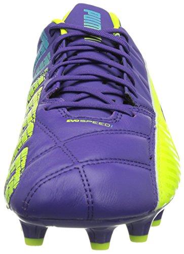 Puma evoSPEED 1.3 Lth FG Herren Fußballschuhe Violett (prism violet-fluro yellow-scuba blue 01)