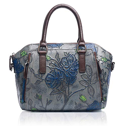 APHISON Designer-Handtasche aus echtem Leder, geprägt, Blumenmuster, klassisch, für Damen C815, Grau (grau), Medium -