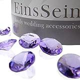 EinsSein 100x Funkelnde Diamantkristalle 12mm Flieder Dekoration Dekosteine Diamanten Funkelnde Diamantkristalle Streudeko Konfetti Tischdeko Hochzeit