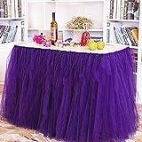 Falda de la tabla, gasa romántica del escritorio de Tulle, decoración de la tabla, copo de nieve Tela de tabla del tutú de las maravillas, para la ducha de bebé, boda, cumpleaños, partido, barra, baile de fin de curso, día de tarjeta del día de San Valentín (Púrpura)