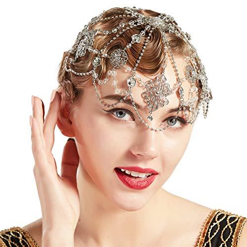 Coucoland 1920s Stirnband Damen Perlen Haar Kette Gatsby Kostüm Fasching Accessoires 20er Jahre Flapper Blinkendes Haarband (Silber-Stil 2)