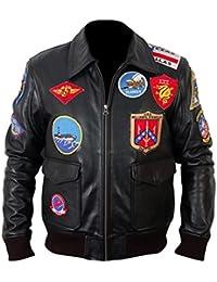 Classyak - Chaqueta para hombre (piel, alta calidad), diseño de Top Gun