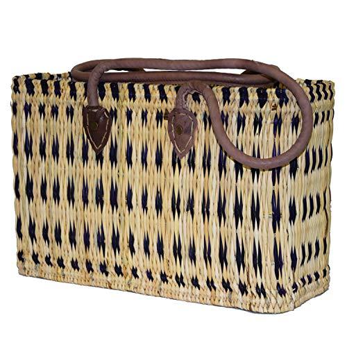 Simandra Seegras Tasche Korb Einkaufstasche Einkaufskorb Flechtkorb Korbtasche Palmgras Langer Griff mittel Color Blau