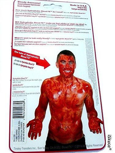 maquillez Halloween Zombie oder anderen mit diesem Falsch Blut Blood FX hergestellt in US durch Tinsley FX Transfers-auch wahr, dass der wahre Blut rot Hot seidig und weich ungiftig