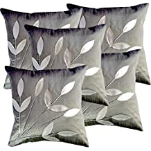 BELIVE ME BELL OF HAPPINESS Fabric Leaves Patch Dupion Silk Cushion Covers (16X16 Inches, Silver Grey) - Set of 5