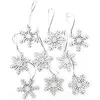 9 Stück silber glänzende glitzernde Schneeflocken Eiskristalle Weihnachtsanhänger mit Schnur zum Aufhängen Weihnachtsdeko Anhänger als Geschenkanhänger Christbaumschmuck Baumschmuck Holz