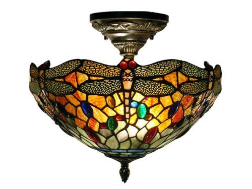 Dale Tiffany Flush (Dale Tiffany TH12235 Sonota Semi Flush Mount Light Fixture, Dark Antique Brass by Dale Tiffany Lamps)