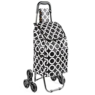 Zfggd Lightweight Shopping Trolley, Trendy Folding/Collapsible Climb The Stairs Push/Pull Carts With Seat (Color : White circle)