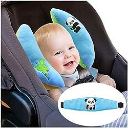 Baby Schlafkissen Nackenstützen - Baby Kissen für Autositz Kleinkind Nackenschutz Gürtel, Blau