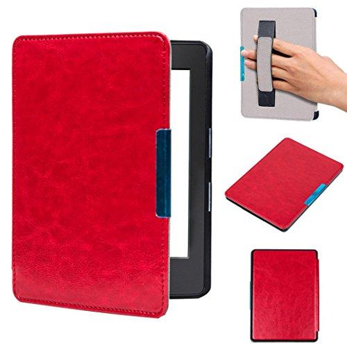 Cas pour Amazon nouveau Kindle 2016 (8e génération), Malloom Magnétique auto sommeil cuir PU couvrir 6 pouces (Pour Amazon nouveau Kindle 2016 (8e génération), Rouge)