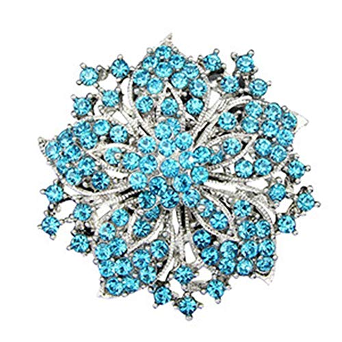 Blüte Blume Cluster Brosche Phantasie Strass Bling Kristall Bauhinia Pin Modeschmuck (Color : Blau)
