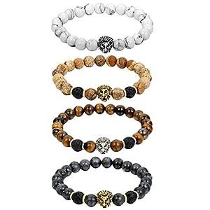 Cupimatch 4pcs Buddha Kopf Armband Armreif, 8MM Lava Energie-Stein Kugelkette Gebet Mala Stretch Energiearmband Armschmuck für Damen Herren, braun schwarz weiss