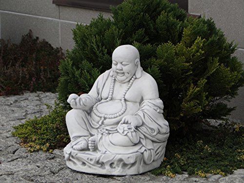 Lustiger Stein Buddha Mönch Gartendeko aus Steinguss frostfest